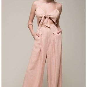 Moon River Tie Front Cutout Jumpsuit